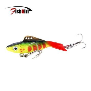 DCCK1IN new 2017 vantage balance vib ice fishing lure wobber pesca artificial bait 65mm 19g lead fish soft fish red tail treble hook