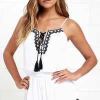 Happy to Sea Ya Ivory Embroidered Romper