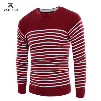 ZATOGOO Spring Autumn Thin Sweater men brand clothing fashion men pullover quality striped knitted sweater male plus size 3xl
