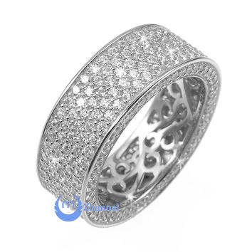 Wedding ETERNITY RING 7mm Band Pave Set Signity CZ Rhodium over Sterling Silver