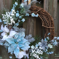 Winter Christmas Wreath, Blue Christmas Wreath, Rustic Christmas Wreath,Floral Winter Wreath, Floral Grapvine, Blue Christmas,Winter Rustic