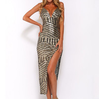 Geometric Pattern Printed V-neck Sequined Irregular Straps Maxi Bodycon  Dress with Split