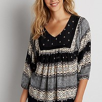 mixed pattern peasant top | maurices