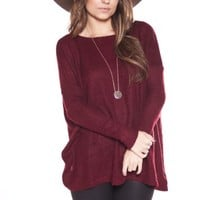 OVERSIZED DOLMAN SWEATER/ WINE