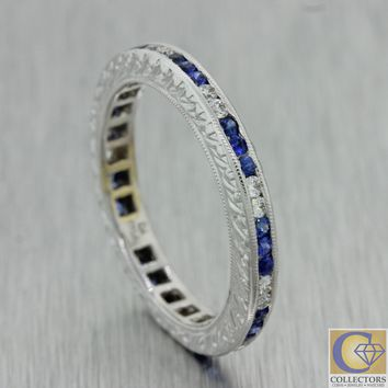Antique Art Deco 18k Gold Diamond Sapphire Engraved Eternity Wedding Band Ring