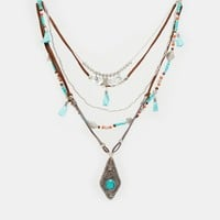 ASOS Multirow Bead And Charm Necklace