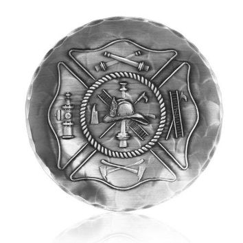 Coaster Firemans Crest Handhammered Aluminum Keeps Tabletops Safe 45 Inch Round Coaster Handmande in the USA by Wendell August Forge