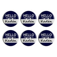 Kaden Hello My Name Is Plastic Resin Button Set of 6