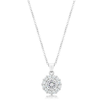 Belle Clear Round Halo Pendant Necklace  | 4ct | Cubic Zirconia