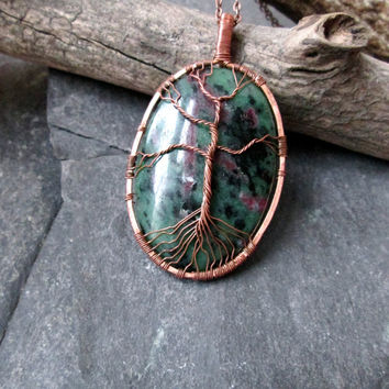 Ruby Zoisite Necklace - Wire Wrap Copper Tree of Life - Yggdrasil Tree Pendant Necklace - Wire Weave Tree on Green Gemstone - Long Necklace