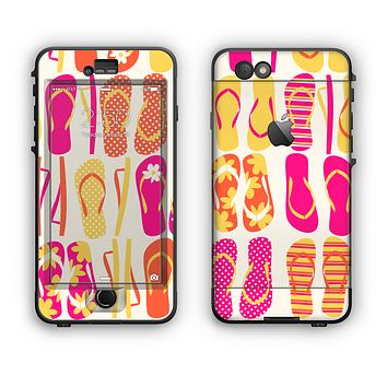 The Vibrant Pink & Yellow Flip-Flop Vector Apple iPhone 6 Plus LifeProof Nuud Case Skin Set