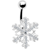 Crystalline Gem Snowflake Belly Ring | Body Candy Body Jewelry