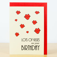 BIRTHDAY CARD - Lots of kisses on your birthday