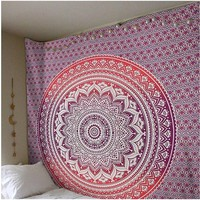 Pink and Purple Mandala Tapestry 60x60in