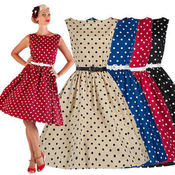New Women Dress Swing Vintage Retro Housewife Pinup Rockabilly Evening Party Dress