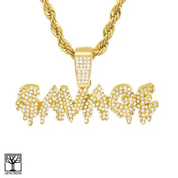 Jewelry Kay style Iced  Dripping SAVAGE Sign 14K Gold Plated CZ Pendant Chain Necklace HC 3504 G