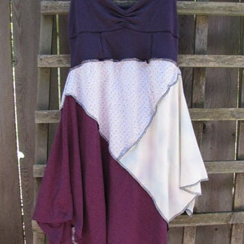 Purple Pixie Tank Dress Lagenlook Upcycled/ Funky Asymmetrical Tattered Floral Eco Blouse/ Hi Lo Womens Tops XS/S