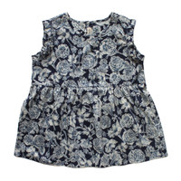 Babe & Tess Girls Indigo Floral Print Top - NA 4 - FINAL SALE