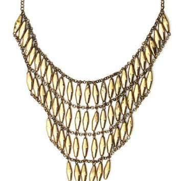 Cascade Necklace Gold Tone Large Beaded Bib NH44 Art Deco Chandelier Tiered Fringe