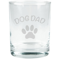 Father's Day Dog Dad Etched Glass Tumbler