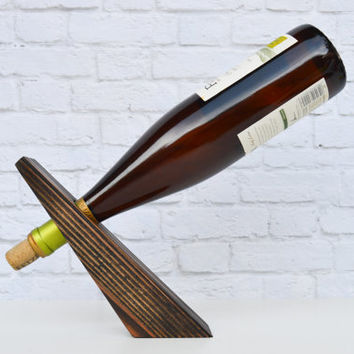 Bullet 15, an espresso wood gravity wine bottle holder, recycled wood wine display, great gift idea