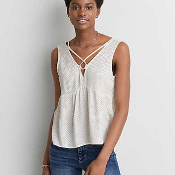 AEO Lace-Up Neck Tank , White