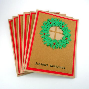 Christmas Wreath Card, Rustic Holiday Card, Seasons Greetings, kraft Christmas card, red & green, handmade holiday card