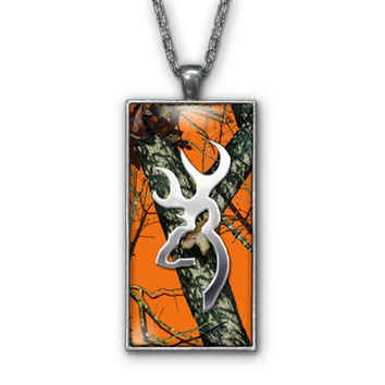 Orange Camo Browning Buckhead Pendant Necklace Jewelry