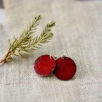 Marsala enamel earrings - dark red round earrings - sterling silver earwire -  handmade jewelry by Alery
