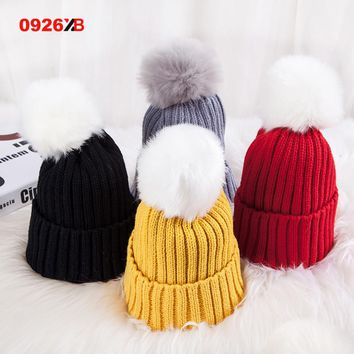 0926XB Skullies & Beanies Kid Solid Hats Real pompom hat winter hats for women knitted hat beanie women girls 10 colorst XB-A415