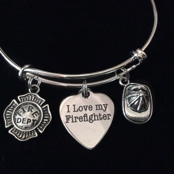 I Love My Firefighter Badge Expandable Charm Bracelet Adjustable Silver Wire Bangle Fireman's Wife Gift