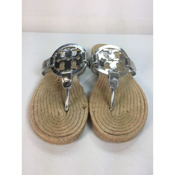 Tory Burch Grey Miller Espadrille Sandal, Size 8.5M (Used)