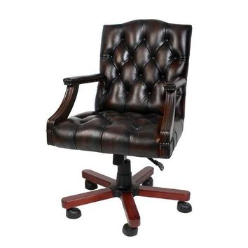 Wheeled Leather Desk Chair | Eichholtz Gainsborough