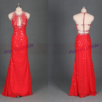 2014 long red chiffon prom dresses with sequins,sexy elegant gowns for party,cheap women dress in handmade hot.