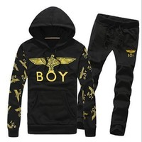 2016 Fall spring new men's pullover sweater eagle print T-shirt +pants fashion casual sportswear men suit jacket mens tracksuits sport suits