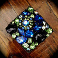 Vintage Weiss Blue and Green Brooch