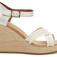 TOMS Platinum Grosgrain Lace Women's Strappy Wedges White