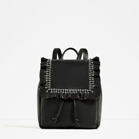 FRILLED LEATHER BACKPACK DETAILS