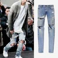 KANYE WEST Fear of god Boots Jeans Mens justin bieber ripped jeans for men Bottom zip