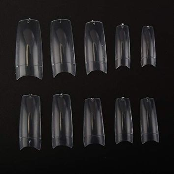 Makartt 500pcs Clear Color French Acrylic Europe Style False Nails fake Tips 10 Sizes for Nail Salons and...