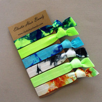 The Tyler Tie Dye Hair Tie - Ponytail Holder Collection - 6 Elastic Hair Ties by Elastic Hair Bandz on Etsy