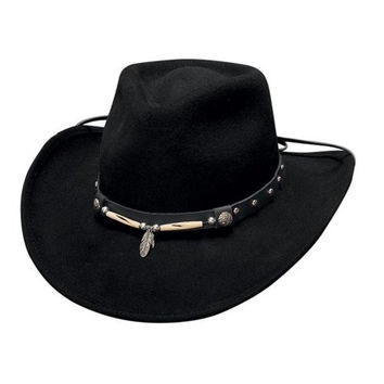 """Md Black """"Rollin Thunder"""" Crushable Wool, Western Style Hat with Leather Hat Band with Silver Studs, Bone Beads, and Silver Feathers"""