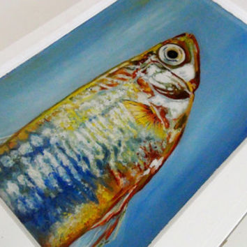 A Touch of Blue - Fish Painting with Oil on Vintage Window - Reverse Painted on Glass