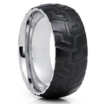 Black Tungsten Wedding Band - Tire Ring - Tire Design Ring - Tungsten