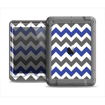The Gray & Navy Blue Chevron Apple iPad Mini LifeProof Nuud Case Skin Set