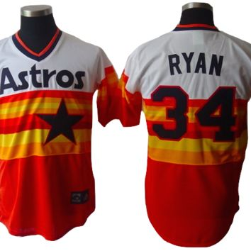 KUYOU Houston Astros Jersey - Orange Rainbow Throwback Jerseys- Several Players