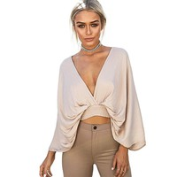Sexy Deep V Women Blouses Shirts Plunging Neck Halter Elastic Waist Long Sleeve Blouse Women Light Khaki Plus Size Fashion Top