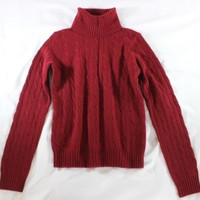 "~~~ MUST HAVE ~~~ RALPH LAUREN RED ""HIGH NECK/CABLE KNIT"" CASHMERE SWEATER ~ M/L"