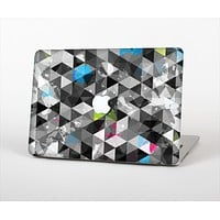 The Modern Black & White Abstract Tiled Design with Blue Accents Skin Set for the Apple MacBook Air 11""