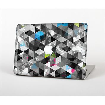The Modern Black & White Abstract Tiled Design with Blue Accents Skin Set for the Apple MacBook Pro 15""